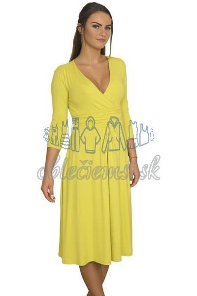 Midi šaty s 3-4 rukávom – žltá 1