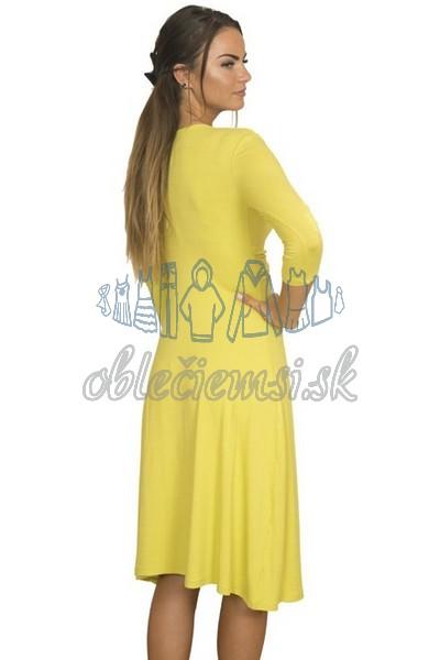 Midi šaty s 3-4 rukávom – žltá 2