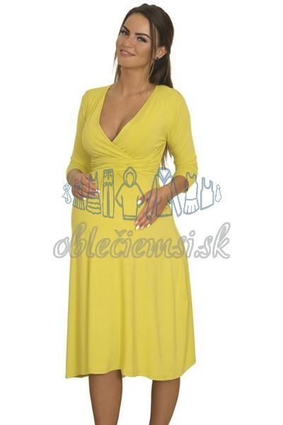 Midi šaty s 3-4 rukávom – žltá 3