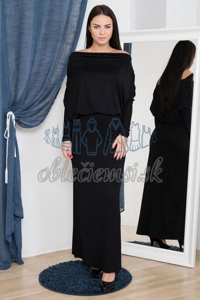 dlhé šaty s vodopádovým výstrihom – čierna 1