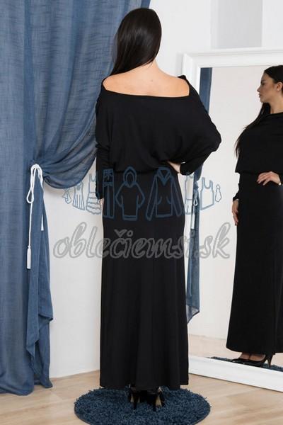 dlhé šaty s vodopádovým výstrihom – čierna 2