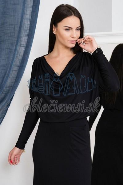 dlhé šaty s vodopádovým výstrihom – čierna 3