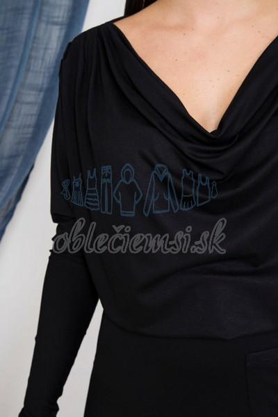 dlhé šaty s vodopádovým výstrihom – čierna 4