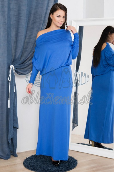 dlhé šaty s vodopádovým výstrihom – azúrová 1