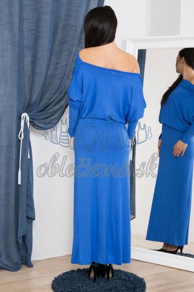 dlhé šaty s vodopádovým výstrihom – azúrová 2