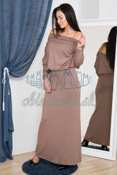 dlhé šaty s vodopádovým výstrihom – cappuccino 1