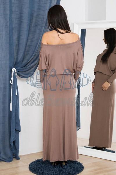 dlhé šaty s vodopádovým výstrihom – cappuccino 2