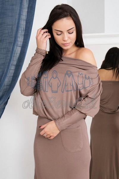 dlhé šaty s vodopádovým výstrihom – cappuccino 3