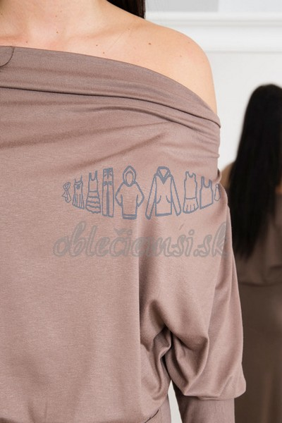 dlhé šaty s vodopádovým výstrihom – cappuccino 4