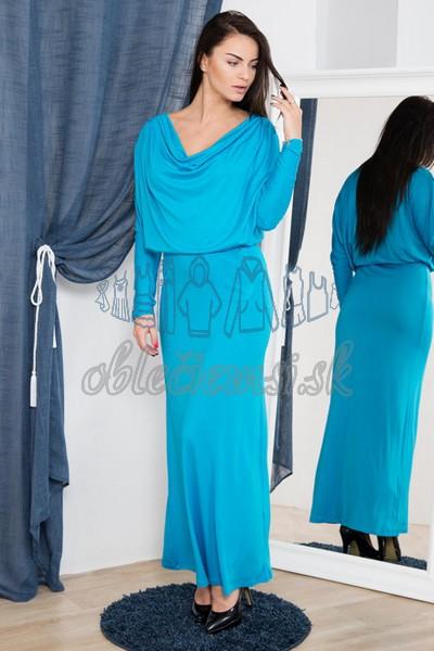 dlhé šaty s vodopádovým výstrihom – tyrkys 1