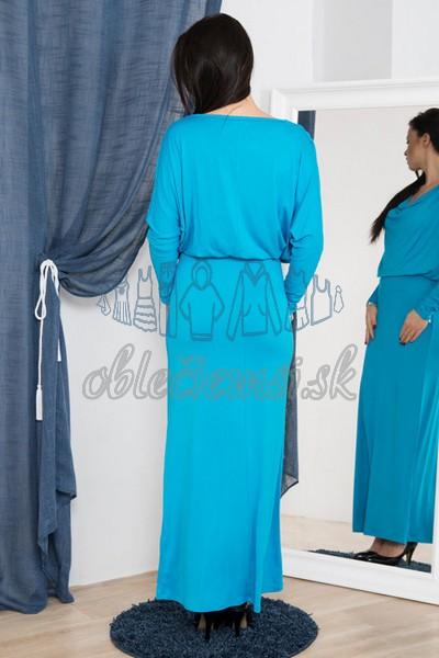 dlhé šaty s vodopádovým výstrihom – tyrkys 2