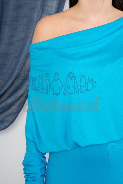 dlhé šaty s vodopádovým výstrihom – tyrkys 4