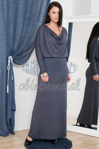 dlhé šaty s vodopádovým výstrihom – uhľovo šedá 1