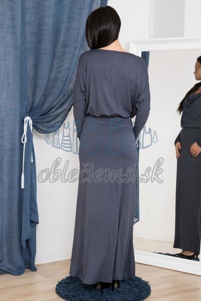 dlhé šaty s vodopádovým výstrihom – uhľovo šedá 2