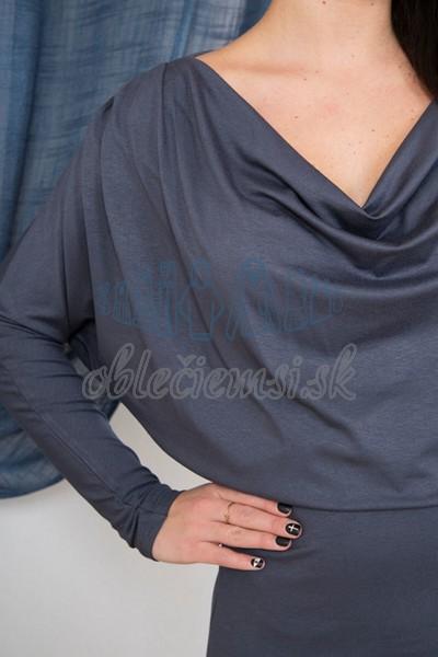 dlhé šaty s vodopádovým výstrihom – uhľovo šedá 3
