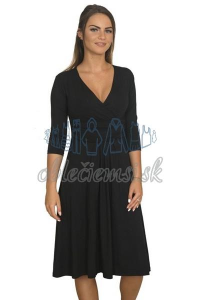 midi šaty s 3-4 rukávom – čierna 1