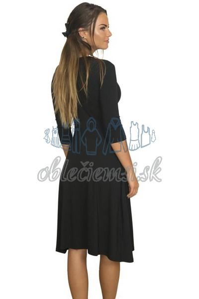 midi šaty s 3-4 rukávom – čierna 2