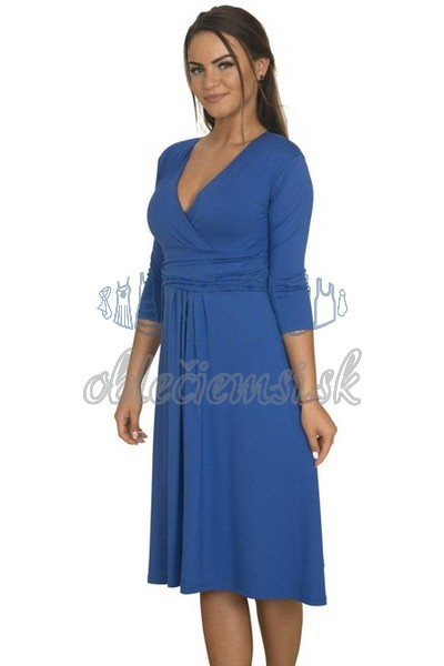 midi šaty s 3-4 rukávom – kobaltovo-modrá 1