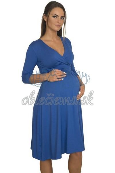 midi šaty s 3-4 rukávom – kobaltovo-modrá 2