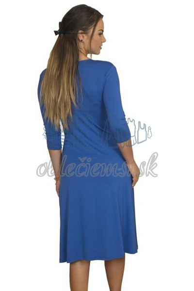 midi šaty s 3-4 rukávom – kobaltovo-modrá 3