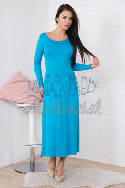 midi šaty s okrúhlym výstrihom – tyrkys 1