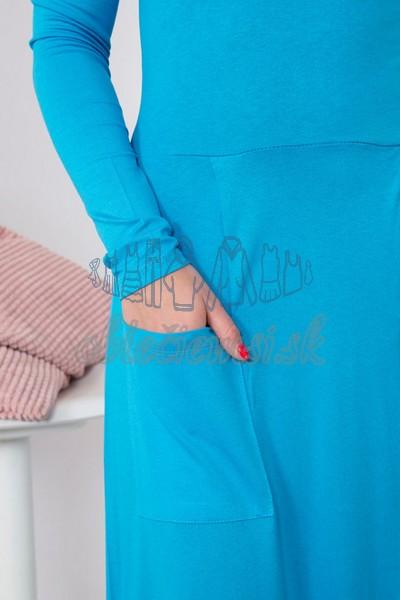 midi šaty s okrúhlym výstrihom – tyrkys 4