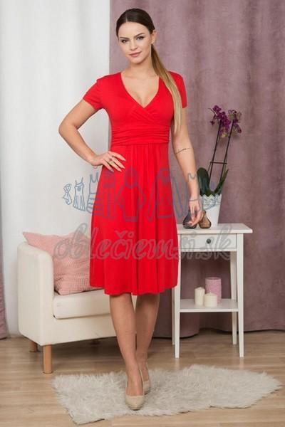 áčkové šaty s krátkym rukávom – červená 1