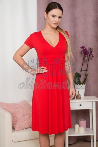 áčkové šaty s krátkym rukávom – červená 3