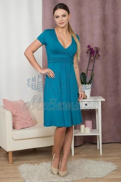 áčkové šaty s krátkym rukávom – modrá 1 0e255c39198