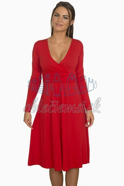 áčkové balnené šaty s riasením – červená 1