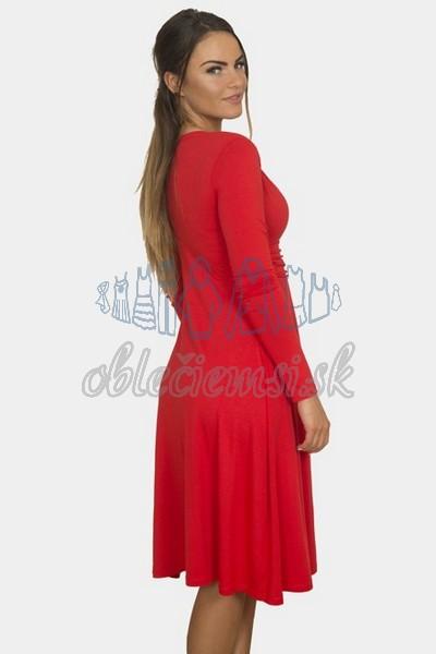 áčkové balnené šaty s riasením – červená 2