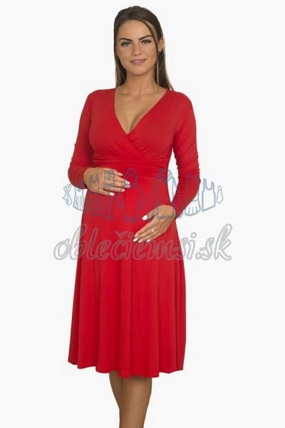 áčkové balnené šaty s riasením – červená 3