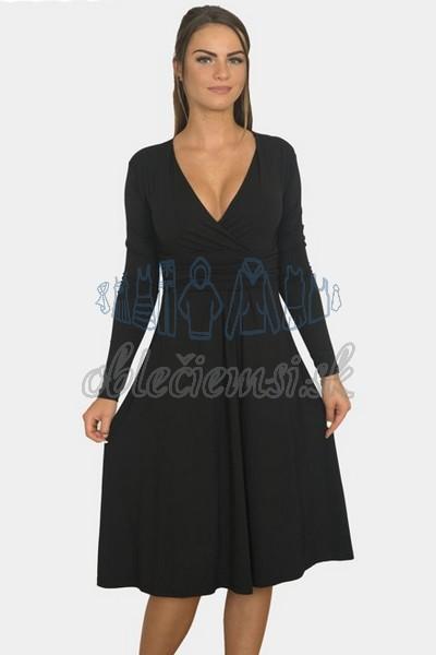 áčkové balnené šaty s riasením – čierna 1