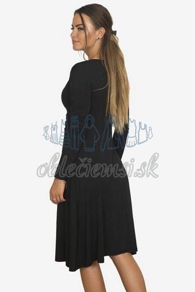 áčkové balnené šaty s riasením – čierna 2