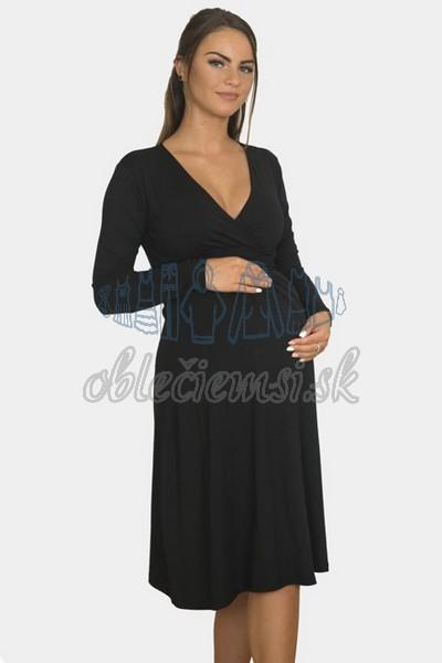 áčkové balnené šaty s riasením – čierna 3