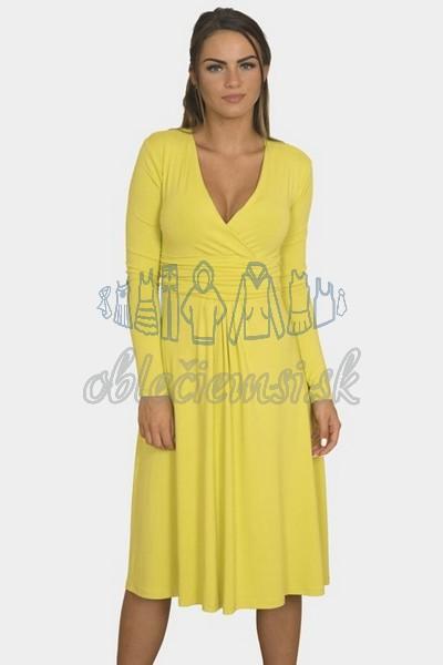 áčkové balnené šaty s riasením – žltá 1