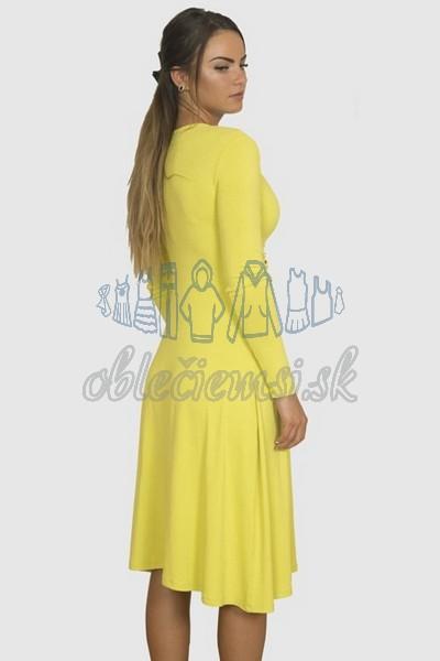 áčkové balnené šaty s riasením – žltá 2
