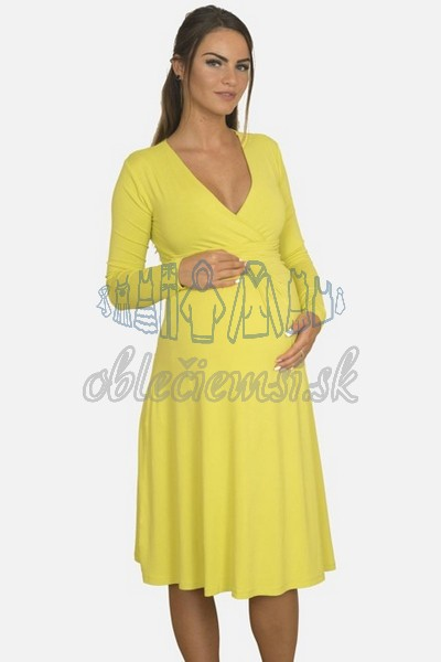 áčkové balnené šaty s riasením – žltá 3