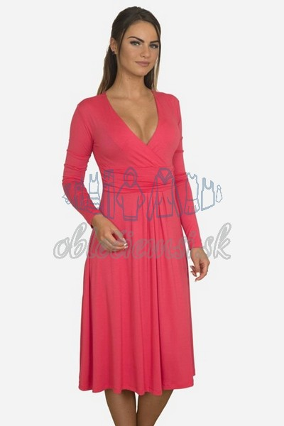 áčkové balnené šaty s riasením – fuchsia 1