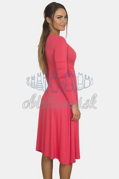 áčkové balnené šaty s riasením – fuchsia 2