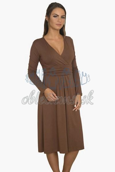 áčkové balnené šaty s riasením – hnedá 1