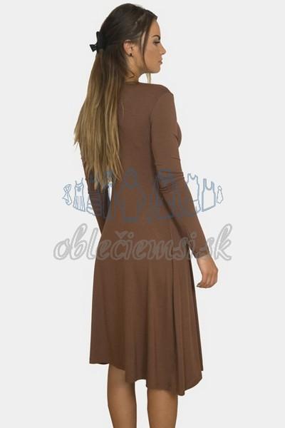 áčkové balnené šaty s riasením – hnedá 2