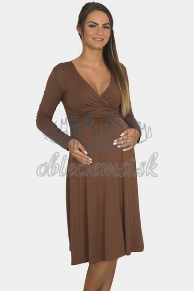 áčkové balnené šaty s riasením – hnedá 3