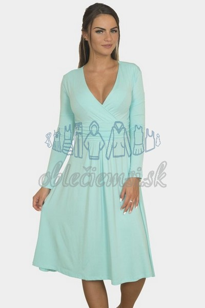 áčkové balnené šaty s riasením – mintová 1