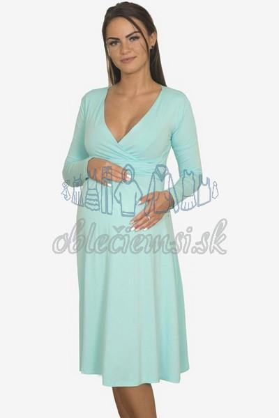 áčkové balnené šaty s riasením – mintová 3