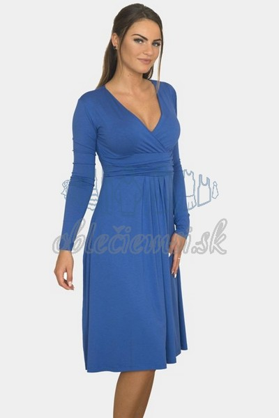 áčkové balnené šaty s riasením – modrá 1