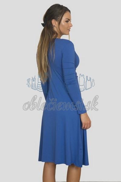 áčkové balnené šaty s riasením – modrá 2