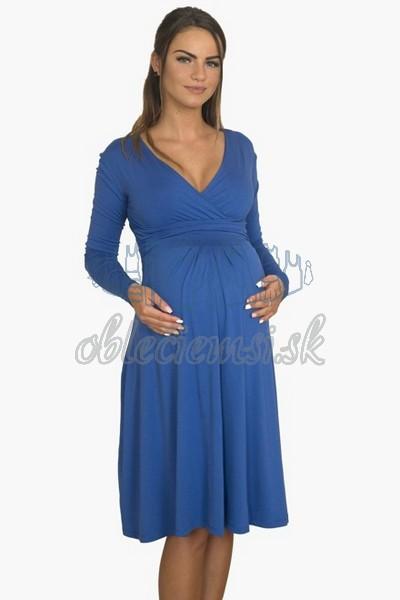 áčkové balnené šaty s riasením – modrá 3