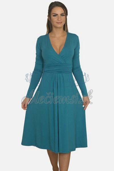 áčkové balnené šaty s riasením – oceľovomodrá 1
