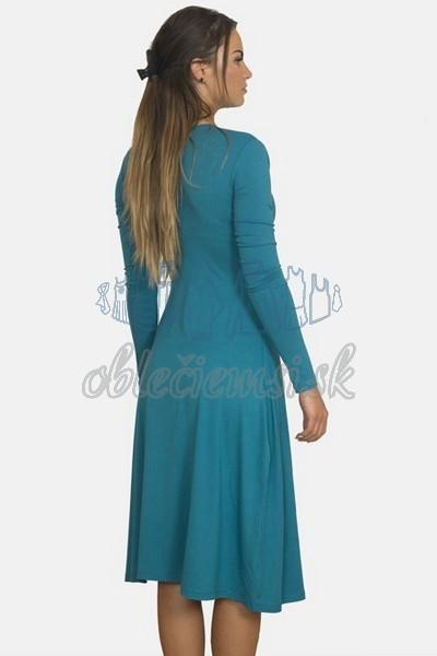 áčkové balnené šaty s riasením – oceľovomodrá 2